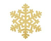 Flocon de neige d'or de Noël d'isolement sur le blanc Photos stock