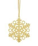 Flocon de neige d'or de Noël sur le ruban d'isolement sur le blanc Images libres de droits