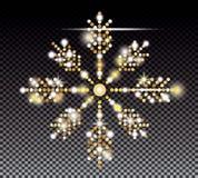 Flocon de neige d'or de scintillement sur le fond transparent illustration stock