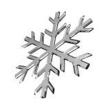 Flocon de neige en verre gris d'isolement sur le blanc Image libre de droits
