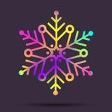 Flocon de neige olographe de Noël d'arc-en-ciel de vecteur Image libre de droits
