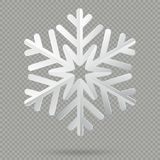 Flocon de neige de papier plié réaliste blanc de Noël avec l'ombre d'isolement sur le fond transparent ENV 10 illustration de vecteur