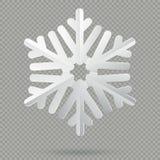 Flocon de neige de papier plié réaliste blanc de Noël avec l'ombre d'isolement sur le fond transparent ENV 10 illustration stock