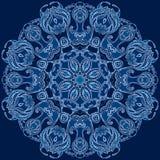 Flocon de neige rond de bleu de conception florale Photographie stock