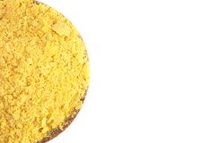 Flocons de levure nutritionnelle jaune un substitut de fromage et assaisonnement pour des régimes de Vegan image libre de droits