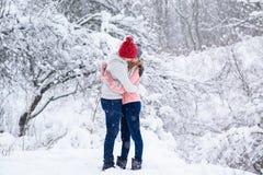 Flocons de neige autour de femme et d'homme dans l'amour Photo stock
