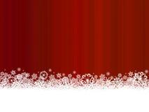 Flocons de neige blancs sur le fond rouge foncé Images stock