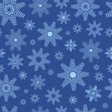 flocons de neige bleus de Noël de fond Modèle sans couture de flocons de neige - fond d'hiver Images libres de droits