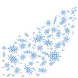 Flocons de neige bleus sur le fond blanc illustration de vecteur