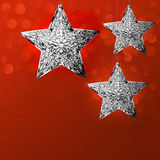 Flocons de neige d'étoile d'argent de conception de fond de carte de vacances de Noël Image stock