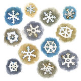 Flocons de neige d'aquarelle de vecteur réglés Photo libre de droits