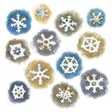 Flocons de neige d'aquarelle réglés Photos stock