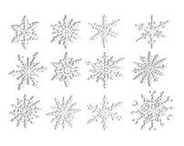 Flocons de neige 3D d'isolement Photos stock