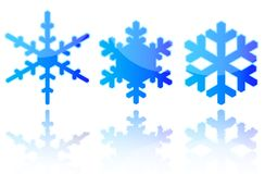 Flocons de neige d'isolement Photographie stock