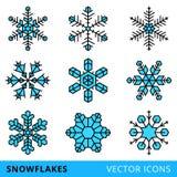 Flocons de neige d'isolement de vecteur - vecteur courant Photographie stock