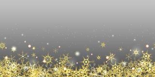 flocons de neige d'or sans couture sur le fond coloré illustration de vecteur