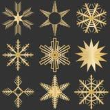 Flocons de neige, flocons de neige d'or sur un fond noir illustration stock