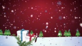flocons de neige 3D tombant sur le fond 3 de Noël banque de vidéos