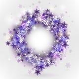 Flocons de neige dans la trame de cercle Photo libre de droits