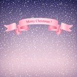 Flocons de neige dans le ciel pourpre et le ruban rose Photographie stock libre de droits