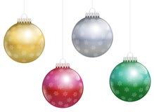 Flocons de neige de boules d'arbre de Noël Image libre de droits