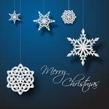 Flocons de neige de Noël de livre blanc de vecteur Photographie stock