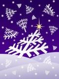 Flocons de neige de nuit de Noël Photo libre de droits