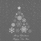 Flocons de neige en baisse sur Gray Background Arbre de sapin de Noël Célébration de vacances de Joyeux Noël Neige de Noël snowfa Image stock