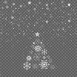 Flocons de neige en baisse sur Gray Background Arbre de sapin de Noël Célébration de vacances de Joyeux Noël Neige de Noël snowfa Photographie stock
