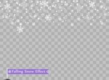 Flocons de neige en baisse sur le fond d'isolement Élément de conception de recouvrement Décorations de Noël Illustration de vect illustration libre de droits