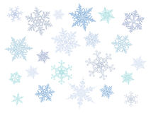 Flocons de neige en cristal froids de gradient - ensemble de vecteur Photographie stock libre de droits