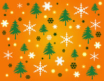 Flocons de neige et arbres sur le fond orange Image stock