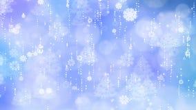 Flocons de neige et fond bleus d'arbre de Noël banque de vidéos