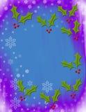 Flocons de neige et houx Photographie stock