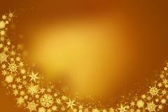 Flocons de neige - fond d'or d'hiver photo libre de droits