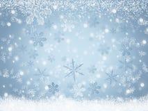 Flocons de neige de fond de paysage d'hiver de Noël tombant sur la neige Photo libre de droits