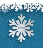 Flocons de neige heureux de fond de glace de Noël de vacances Photos stock