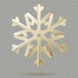 Flocons de neige de papier de décoration de Noël de cru avec l'ombre d'isolement sur le fond transparent ENV 10 illustration de vecteur