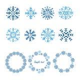 Flocons de neige réglés Tiré par la main Photo stock