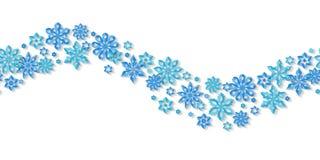 Flocons de neige sans couture de frontière d'isolement sur le fond blanc Images libres de droits