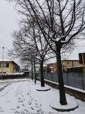 Flocons de neige sur Bussolengo à Noël 2017 Photos libres de droits