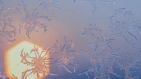 Flocons de neige sur la fenêtre dans le tir de supermacro Image libre de droits