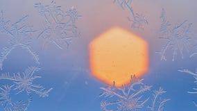 Flocons de neige sur la fenêtre dans le tir de supermacro Image stock