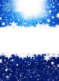Flocons de neige sur le fond bleu abstrait Photo libre de droits