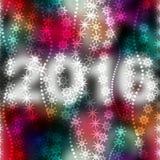 Flocons de neige sur le fond de couleur de tache floue avec des nombres Image libre de droits