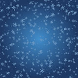 Flocons de neige sur le gradient bleu Photo stock