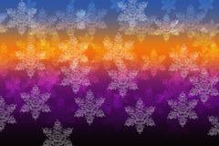 Flocons de neige sur un fond d'arc-en-ciel Photos libres de droits