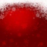 Flocons de neige sur un fond rouge foncé illustration de vecteur