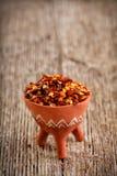 Flocons de poivron rouge secs Images stock