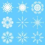 Flocons en cristal abstraits glacials artistiques de neige de vecteur illustration stock